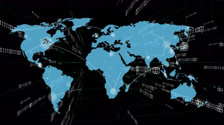 localização : 4k World connections with lines path,global map.growing global Network with communication all over the world.Digital binary code background,scientific tech data binary code conveying connectivity. Stock Footage