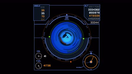 marine nationale : 4k Radar signal signal écran Tech, science futur science science-fiction données jeu navigation tableau de bord HUD technologie fond. Vidéos Libres De Droits