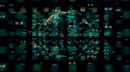 pokrok : 4k digital data globe,a scientific tech data network surrounding planet earth conveying connectivity,complexity and data flood of digital age.Business Data wall,Financial figures.network numbers.