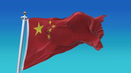 retro revival : looping flag of China with flagpole waving in wind,fully digital rendering.flag 3D animation.