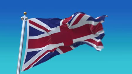 nepořádek : 4k flag of the United Kingdom Of Great Britain England and Northern Ireland (Union Jack) with flagpole waving in wind.A fully digital rendering,flag 3D animation. Dostupné videozáznamy