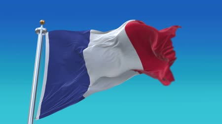 white cloths : 4k looping France flag with flagpole waving in wind.A fully digital rendering,flag 3D animation.