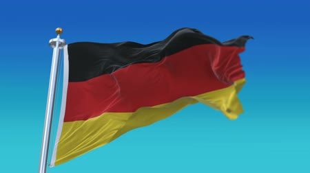 birleşik : looping Germany German flag with flagpole waving in wind.A fully digital rendering,flag 3D animation.