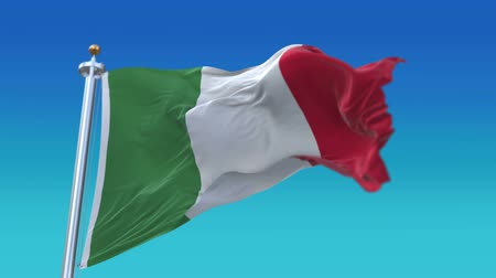 společenství : 4k looping Italy flag with flagpole waving in wind.A fully digital rendering,flag 3D animation.