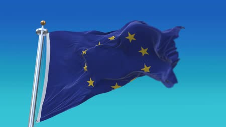 alargamento : 4k looping European Union EU Flag with flagpole waving in wind,fully digital rendering,flag 3D animation.