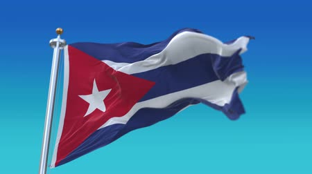 sosyalizm : 4k looping Cuba flag with flagpole waving in wind.A fully digital rendering,flag 3D animation,CUB. Stok Video