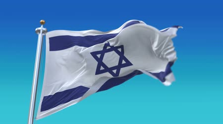 héber : looping flag of Israel with flagpole waving in wind,fully digital rendering,flag 3D animation,ISR.