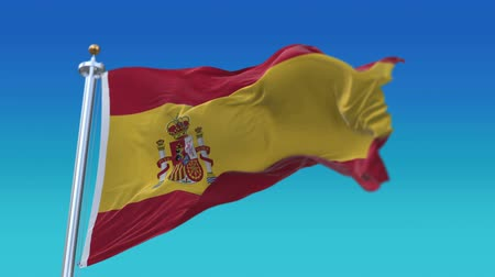 глобализация : 4k Seamless spain flag with flagpole waving in wind,fully digital rendering,The animation loops at 20 seconds,flag 3D animation.