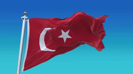 iberian : 4k Seamless Turkey flag with flagpole waving in wind,fully digital rendering,flag 3D animation.