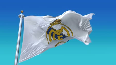 real madrid : 4k Madrid,Spain,champion league waving fabric texture flag of Real Madrid C.F. football club,real texture flag,editorial use only,fully digital rendering,flag 3D animation.