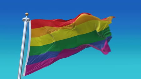 uznání : 4k The gay pride rainbow flag with flagpole waving in wind,fully digital rendering,Seamless loop with highly detailed fabric texture,flag 3D animation.