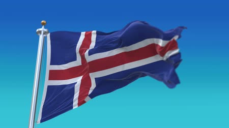 memorial day : 4k iceland flag with flagpole waving in wind,fully digital rendering,Seamless loop with highly detailed fabric texture,flag 3D animation.