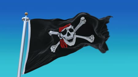 piracy : 4k Looping pirate flag with flagpole waving in wind,fully digital rendering,The animation loops at 20 seconds,flag 3D animation.