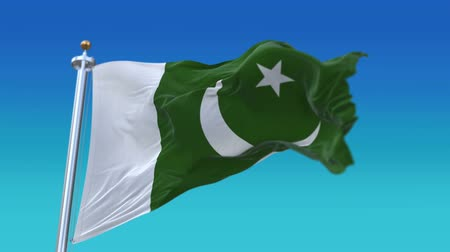 шелковистый : 4k Seamless pakistan flag with flagpole waving in wind,fully digital rendering,flag 3D animation.