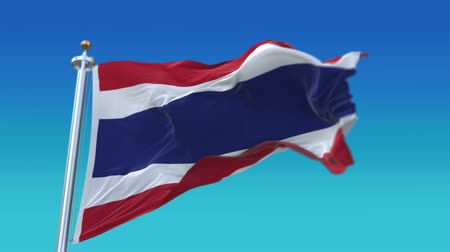 marş : 4k Seamless Flag Of The Thailand waving in wind,fully digital rendering,flag 3D animation.
