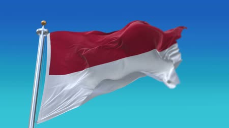oscilante : 4k Seamless Indonesia flag with flagpole waving in wind,fully digital rendering.flag 3D animation.