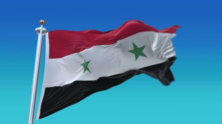 persie : 4k Seamless Syria flag with flagpole waving in wind.A fully digital rendering.flag 3D animation.