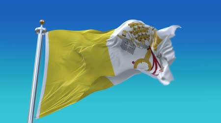 papież : 4k Seamless Vatican City Holy See flag with flagpole waving in wind,fully digital rendering.flag 3D animation.