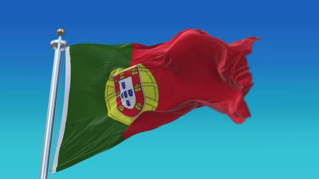 portugese : 4k Seamless Portugal flag with flagpole waving in wind,fully digital rendering, flag 3D animation.