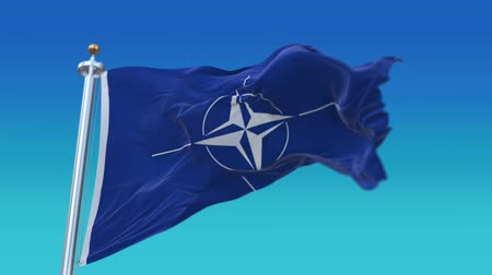muhalefet : 4k Seamless nato flag with flagpole waving in wind,fully digital rendering, flag 3D animation.