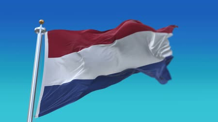 árbocszalag : 4k Seamless Netherlands flag waving in wind,fully digital rendering, flag 3D animation.