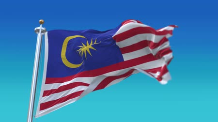 marş : 4k Seamless Malaysia flag waving in wind,fully digital rendering, flag 3D animation.