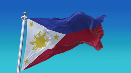 прапорщик : 4k Seamless Philippines flag waving in wind,fully digital rendering,flag 3D animation.