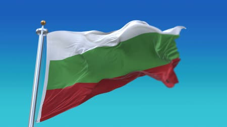 bolgár : 4k Seamless Bulgaria flag waving in wind,fully digital rendering,flag 3D animation.
