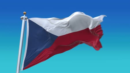 cserepezés : 4k Seamless Czech Republic flag waving in wind,fully digital rendering,flag 3D animation.