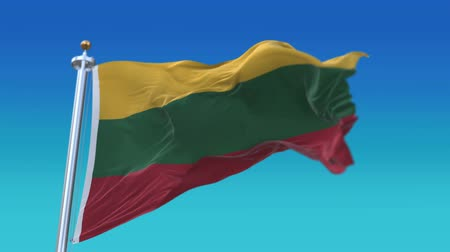 lietuvos : 4k Seamless Lithuania flag waving in wind,fully digital rendering,flag 3D animation.