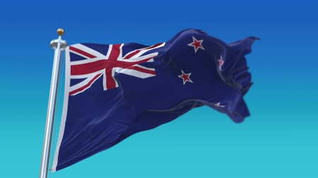 imparatorluk : 4k Seamless New Zealand flag waving in wind,fully digital rendering,flag 3D animation.