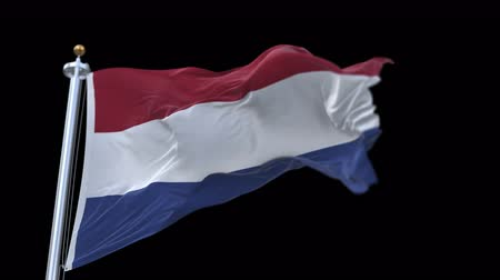 árbocszalag : 4k seamless Netherlands flag waving in wind.A fully digital rendering,The animation loops at 20 seconds.flag 3D animation with alpha channel included. Stock mozgókép