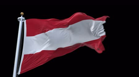 üç renkli : 4k seamless Austria flag waving in wind.A fully digital rendering,The animation loops at 20 seconds.flag 3D animation with alpha channel included. Stok Video