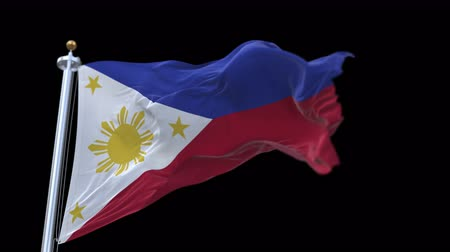 philippine : 4k Seamless Philippines flag waving in wind,fully digital rendering,The animation loops at 20 seconds,flag 3D animation with alpha channel included. Stock Footage