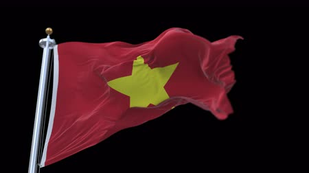 ensign : 4k seamless Vietnam flag waving in wind.A fully digital rendering,The animation loops at 20 seconds.flag 3D animation with alpha channel included.