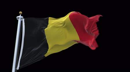 üç renkli : 4k seamless Belgium flag waving in wind.A fully digital rendering,The animation loops at 20 seconds.flag 3D animation with alpha channel included.