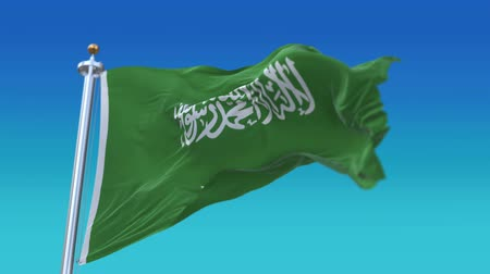 ensign : 4k Seamless Saudi Arabia flag waving in wind,fully digital rendering,The animation loops at 20 seconds,flag 3D animation. Stock Footage