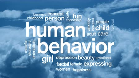 öfkeli : Human Behavior Animated Tag Word Cloud,Text Design Animation. Stok Video