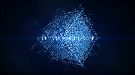motívum : 4K cube in the Computing Core with Interchanging Information Streams.Block chain network concept,Distributed register technology,Various Clusters of Connections Loading,participant chain. Stock mozgókép