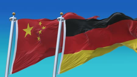 gép : 4k Seamless Germany and China Flags with blue sky background,A fully digital rendering,The animation loops at 20 seconds,GER DE CHN CN.