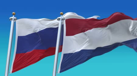 unie : 4k Seamless Netherlands Holland and Russia Flags with blue sky background,A fully digital rendering,The animation loops at 20 seconds,NED NL RUS RU.
