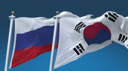 marş : 4k Seamless Republic of Korea and Russia Flags with blue sky background,A fully digital rendering,The animation loops at 20 seconds,KOR KR RUS RU.