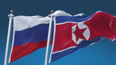 marş : 4k Seamless North Korea and Russia Flags with blue sky background,A fully digital rendering,The animation loops at 20 seconds,PRK KP RUS RU.