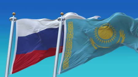 marş : 4k Seamless Kazakhstan and Russia Flags with blue sky background,A fully digital rendering,The animation loops at 20 seconds,KAZ RUS RU. Stok Video