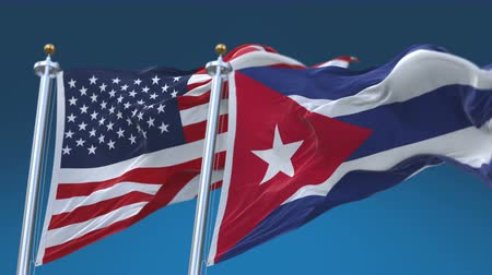 marş : 4k Seamless United States of America And Cuba Flags with blue sky background,A fully digital rendering,The flag 3D animation loops at 20 seconds,USA US CUB CU.