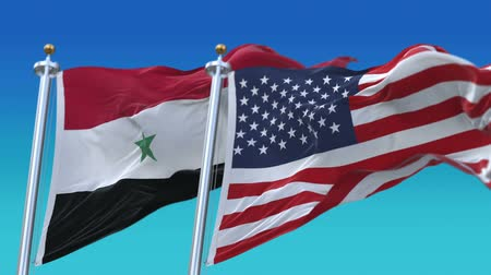 честь : 4k Seamless United States of America And Syria Flags with blue sky background,A fully digital rendering,The flag 3D animation loops at 20 seconds,USA US SYR SY.