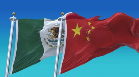 demokracie : 4k Seamless Mexico and China Flags with blue sky background,A fully digital rendering,The animation loops at 20 seconds,MEX MX CHN CN.