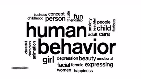 szomorúság : Human Behavior Animated Tag Word Cloud,Text Design Animation. Stock mozgókép