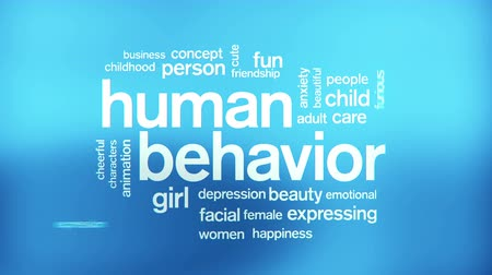 smutek : Human Behavior Animated Tag Word Cloud,Text Design Animation. Wideo