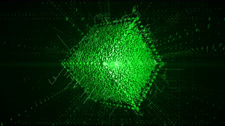 excelência : 4K cube in the Computing Core with Interchanging Information Streams.The Matrix style binary code,Block chain network,Distributed register technology,Various Clusters of Connections Loading. Stock Footage